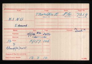 Medal Roll for Private Edmund King who died in the White Flag incident