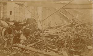 Fire damage inside the factory